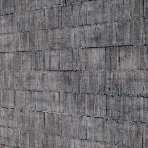 The image shows a board formed bare concrete wall render made using Friendly Shade textures