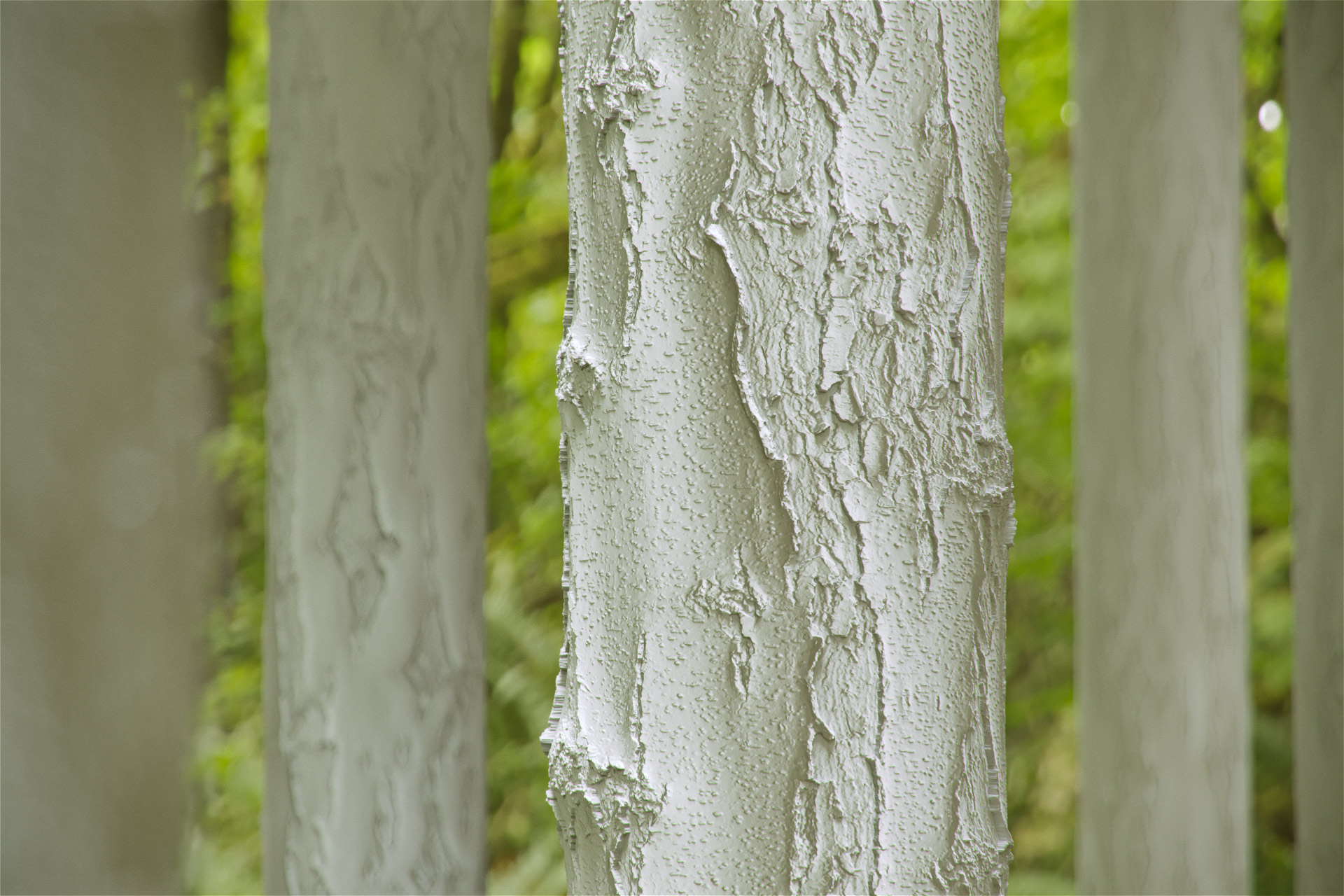 The image shows a clay render of a forest render made using the birch tree bark material from Friendly Shade library
