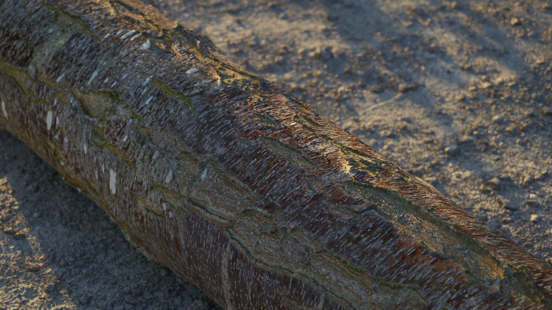 The image shows a close-up render made using the dock material from Friendly Shade library