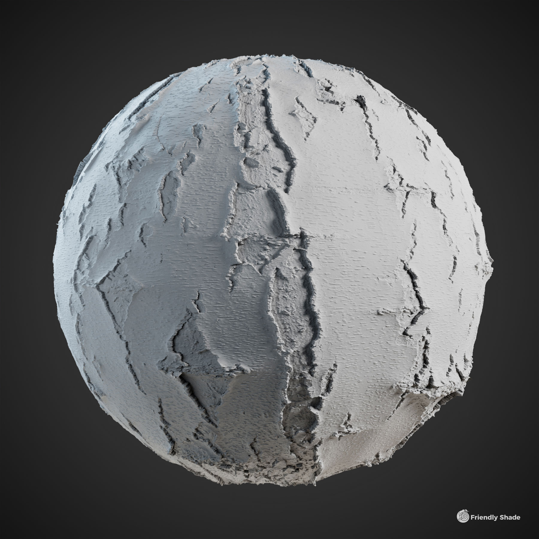 The image shows a clay sphere with our Birch Tree Bark texture