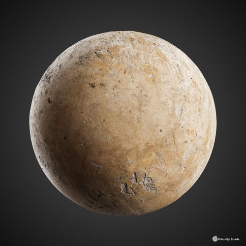 The image shows a sphere with our second bare concrete texture
