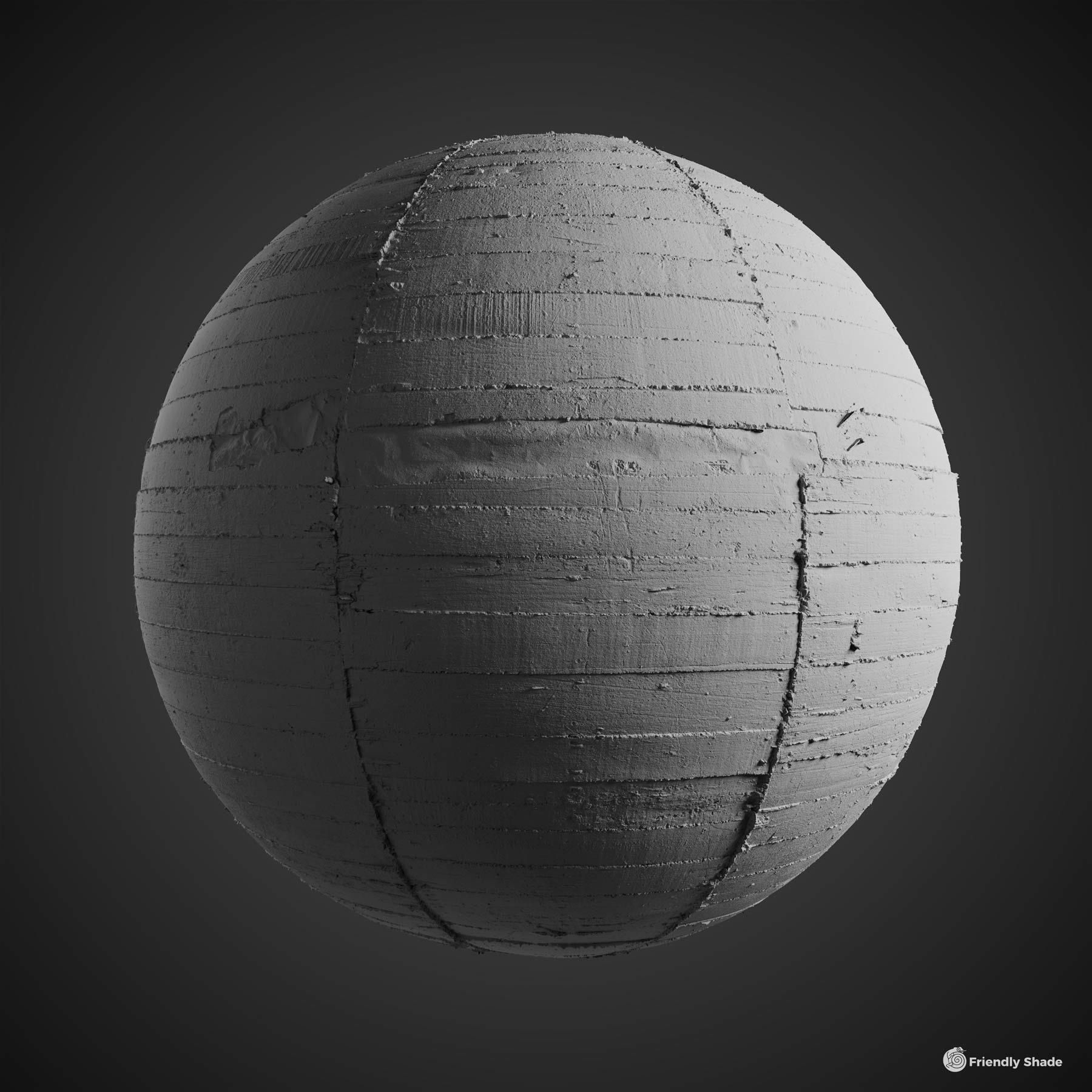 The image shows a clay sphere of the board formed bare concrete texture