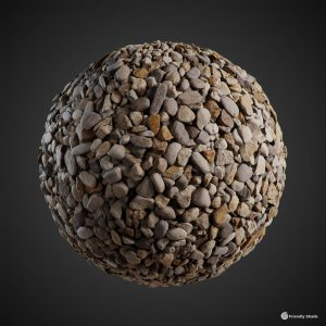The image shows a sphere with our Gravel texture