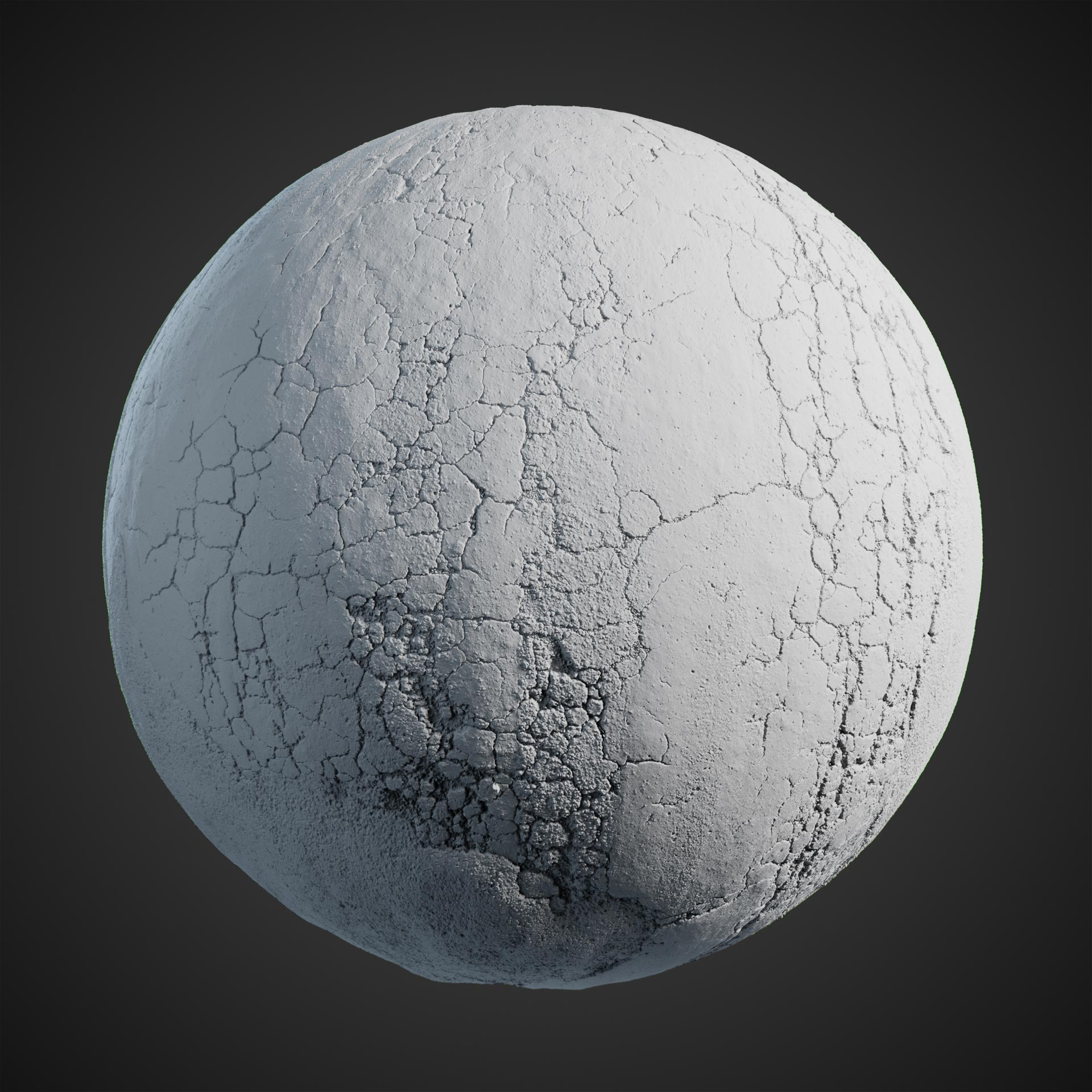 The image shows a clay sphere with our road asphalt 02 texture.