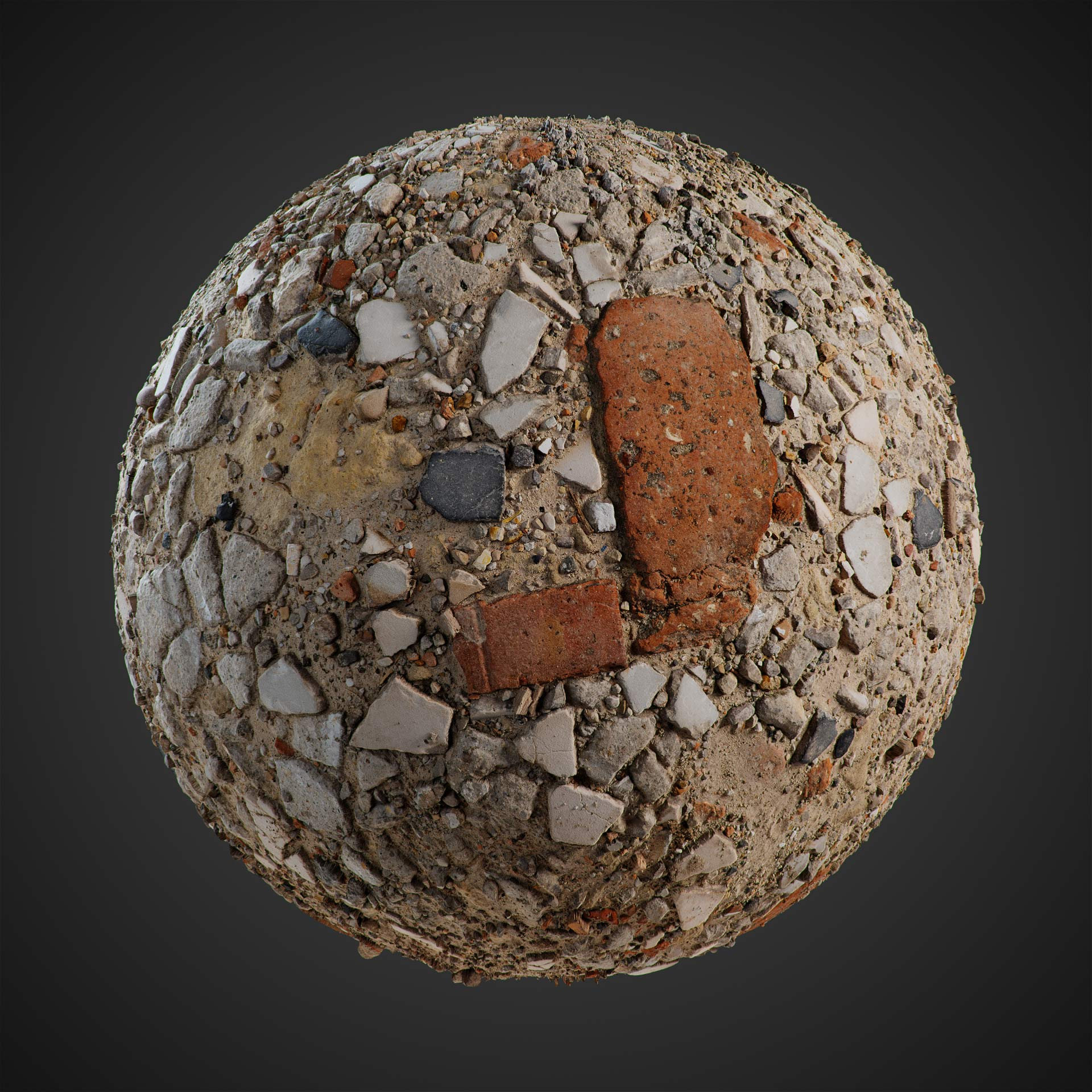 The image shows a sphere with the rubble texture