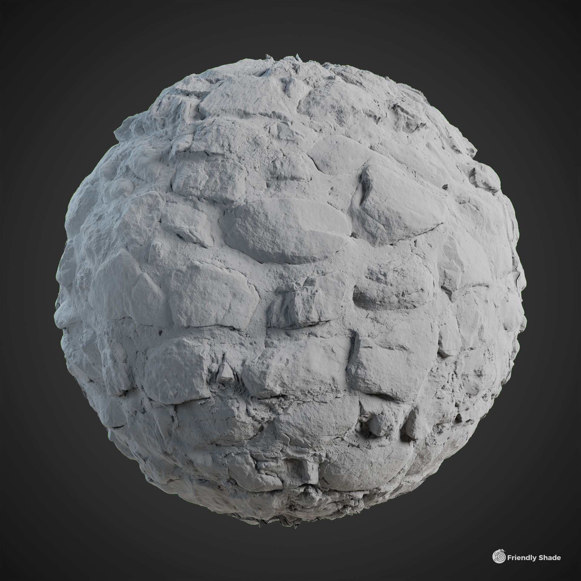 The image shows a clay sphere of the Cobblestone Wall texture