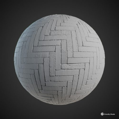 The image shows a clay sphere of the Herringbone Pavement texture