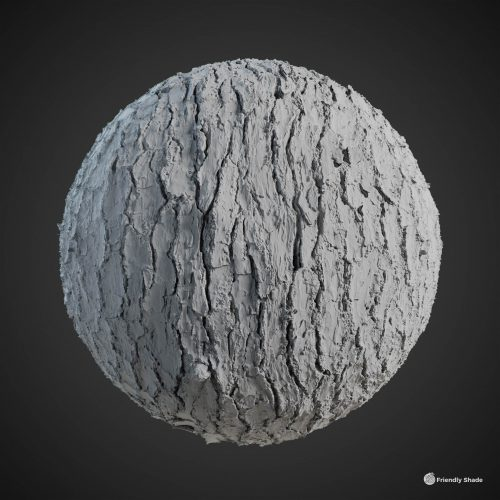 The image shows a clay sphere with our third Pine Tree Bark texture