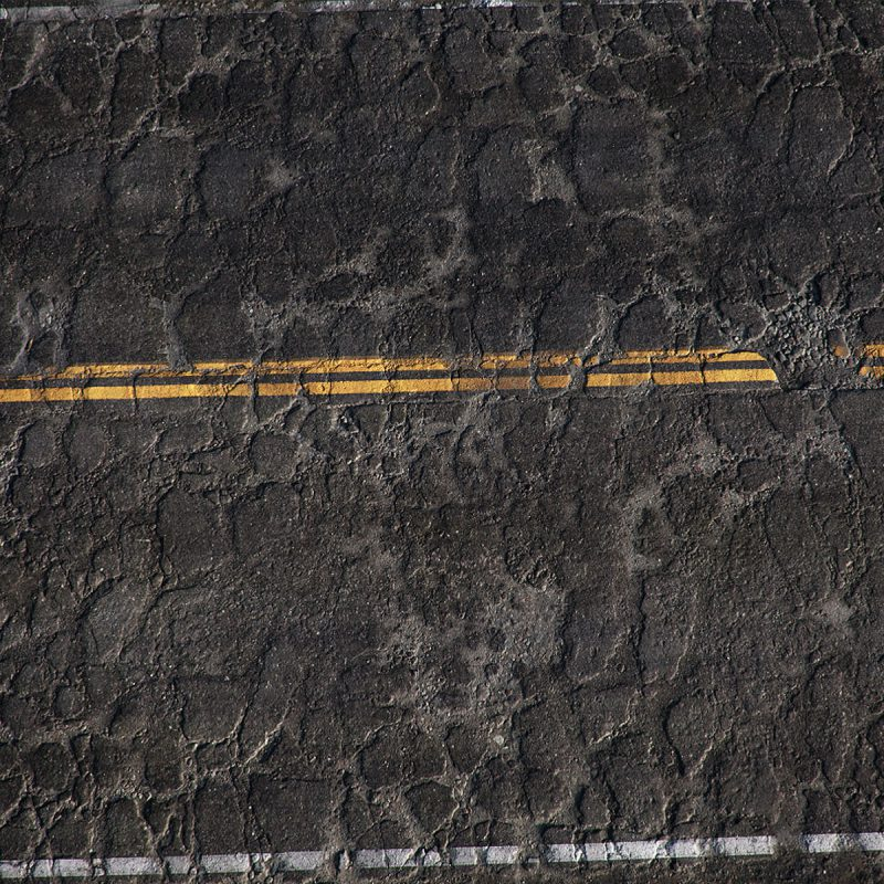Road Asphalt Damaged Double Lined