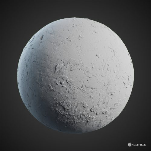 The image shows a clay sphere of the Rough Concrete texture