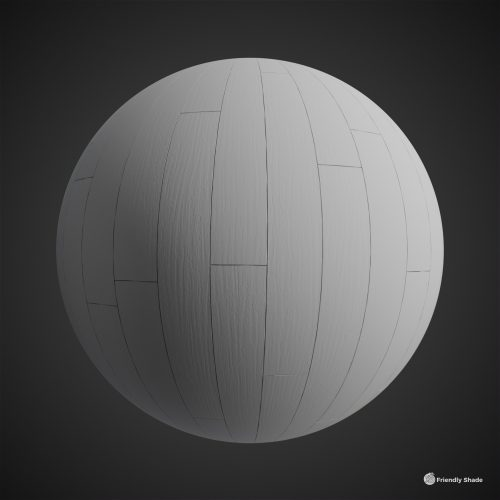 The image shows a clay sphere with our Fine Wood Planks texture