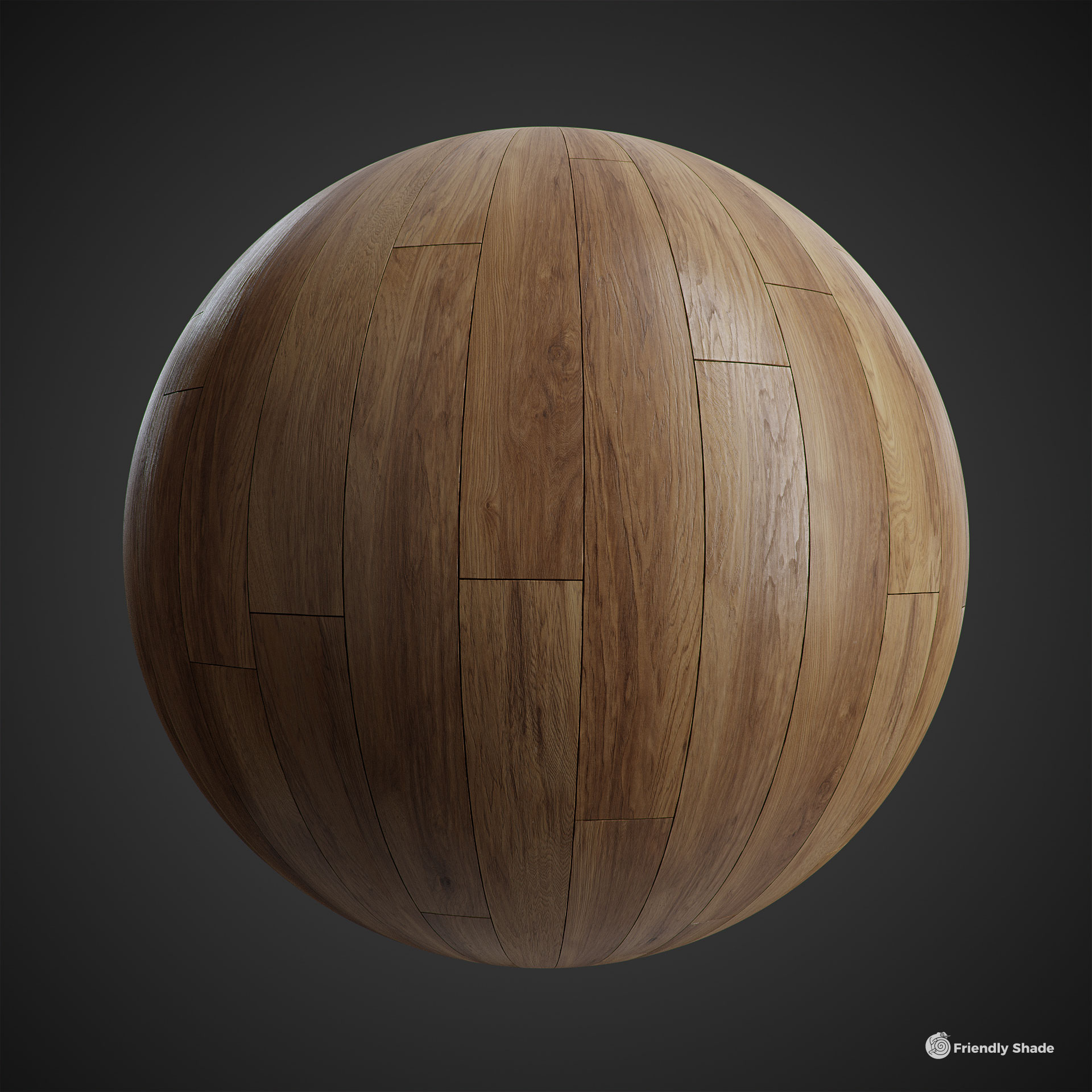 The image shows a sphere with our Fine Wood Planks texture
