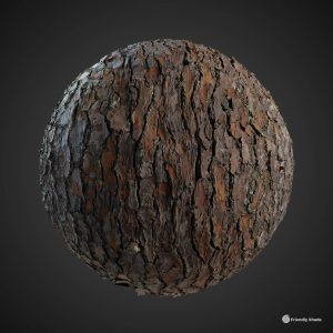 The image shows a sphere with our third Pine Tree Bark texture